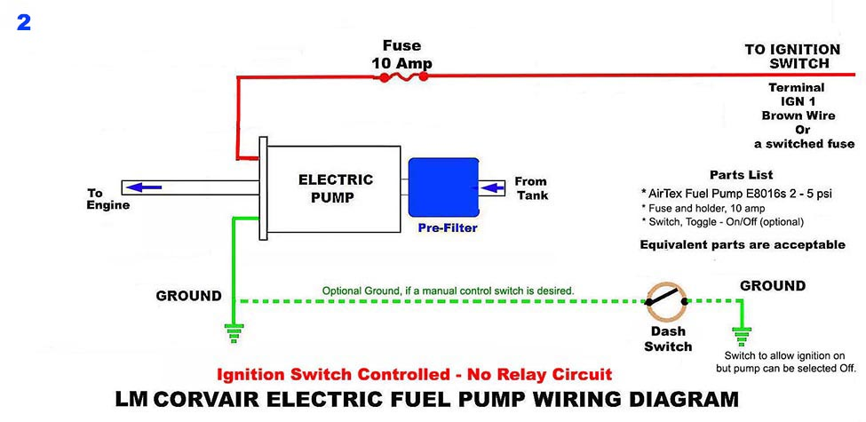 Electric Fuel Pump Circuits Without A Relay