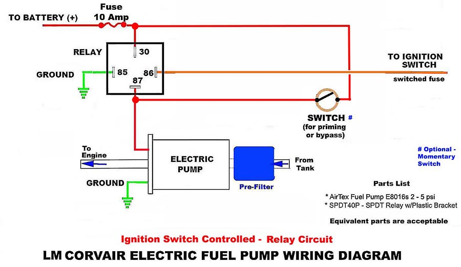 Electric Fuel Pump Circuits with a Relay  Wiring Diagrams