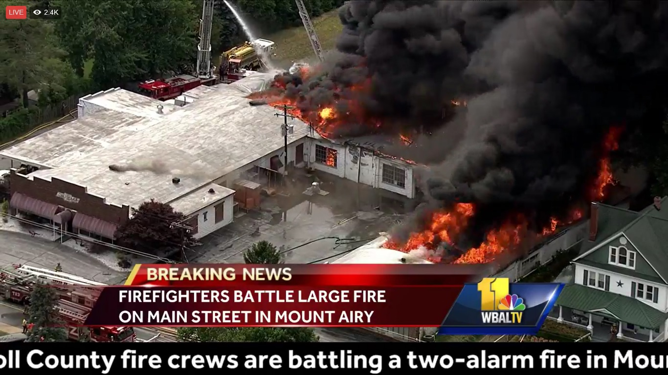 Old Chevy Dealership Burns in Mt  Airy Maryland June 15, 2017