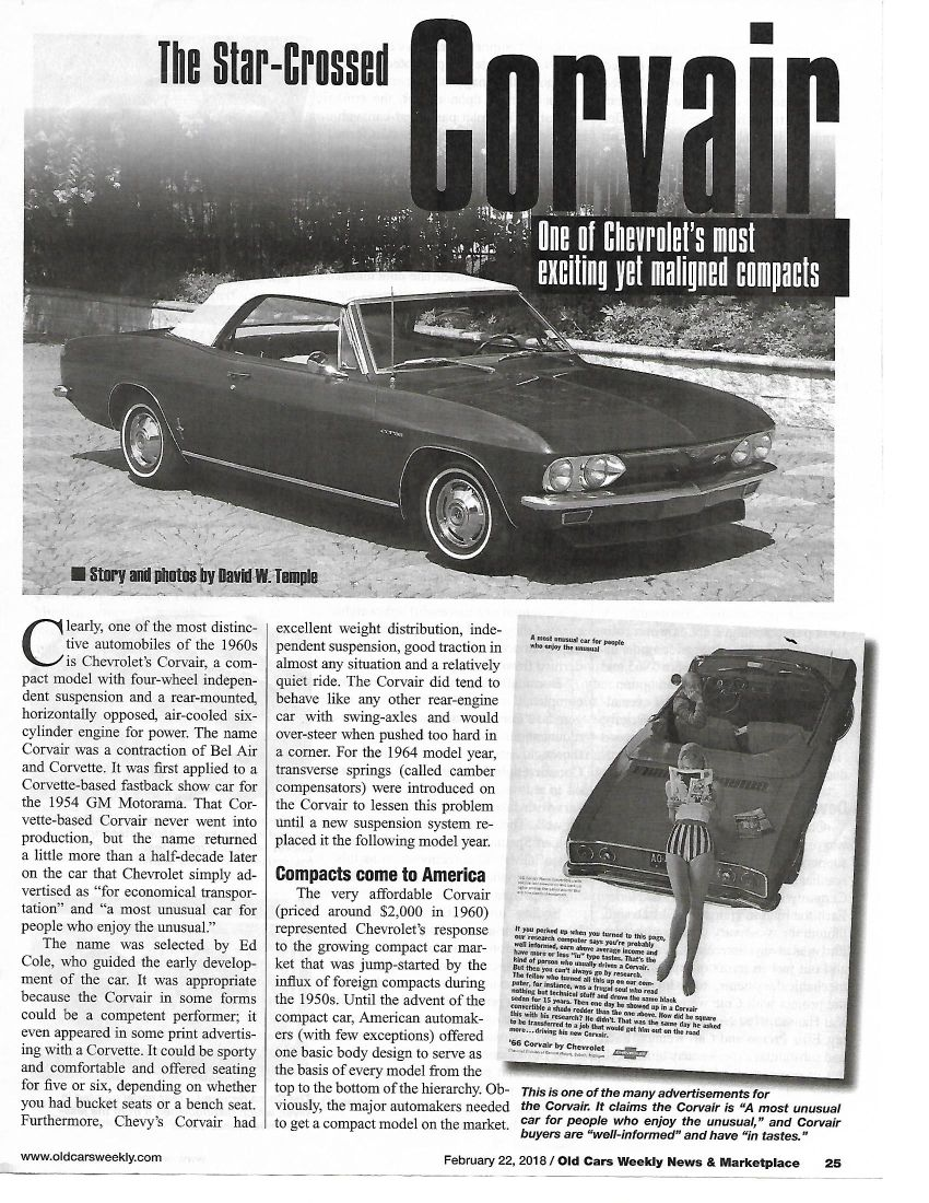 Corvair article Old Cars Weekly