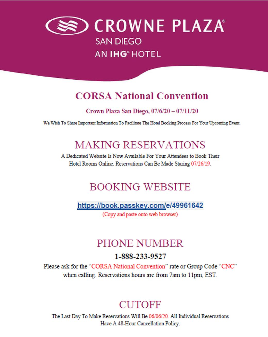 2020 CORSA Convention in San Diego! near the Bay!