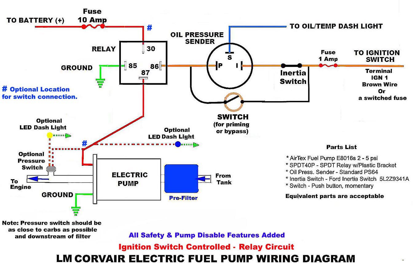 Electric Fuel Pump Circuits with a Relay - Wiring DiagramsCorvair Center