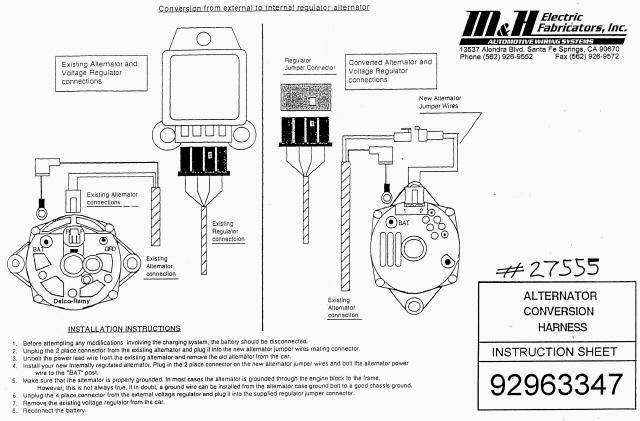 Internal Regulator Alternator Wiring Kit Pics